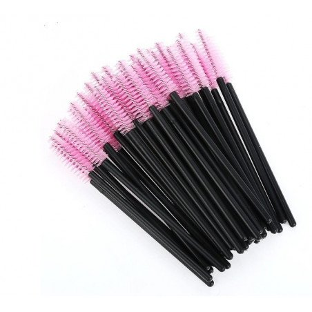 Brosses mascara jetables roses x 50